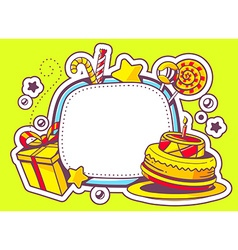 Cake gift and confection with frame on g vector