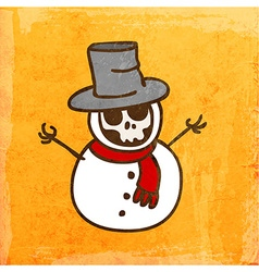 Skeleton disguised as a snowman cartoon vector