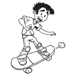 Simple black and white boy on skate vector