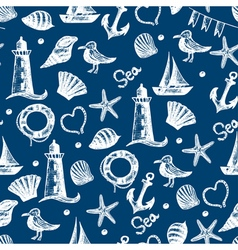 Seamless pattern hand drawn sea themed objects vector