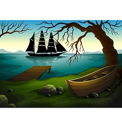 A black ship at the sea across the boat under the vector image vector image