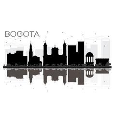 Bogota city skyline black and white silhouette vector