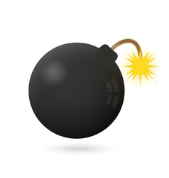 Bomb icon on a white with fire vector