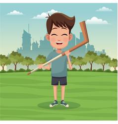 boy sport activity park city bakcground vector image vector image