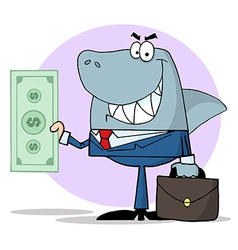 Business Shark Holding Cash vector image