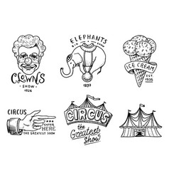 carnival circus badge banner or poster with vector image
