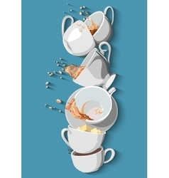 Coffee cups and tea set eps10 vector