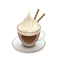 Coffee with icecream glace isolated vector