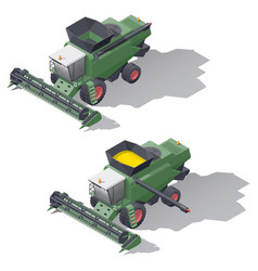 combine harvester isometric icon set vector image