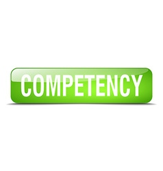 Competency green square 3d realistic isolated web vector