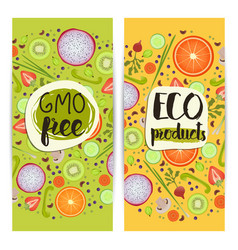 Eco products vertical flyers set vector