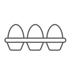 Eggs in carton package thin line icon farming vector