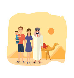 family travel to arab emirates tradition culture vector image vector image