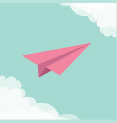flying origami paper plane cloud in corners frame vector image