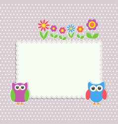 frame with cute owls and flowers vector image vector image