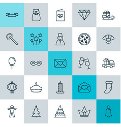 New icons set collection of snow person sparkles vector