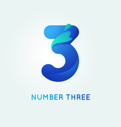 Number three in trend shape style vector
