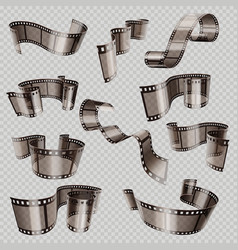 Old 3d movie film strip foto slide isolated on vector