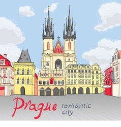 Old Town square in Prague vector image vector image