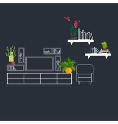 Outline interior decorated with flat homeplant vector image vector image