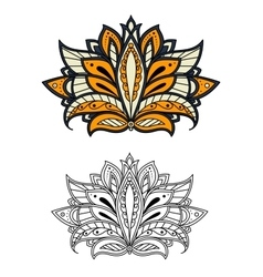 Persian paisley flower with outline petals vector