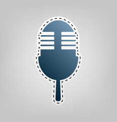 Retro microphone sign blue icon with vector