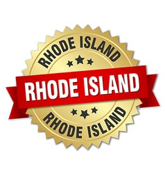 Rhode island round golden badge with red ribbon vector