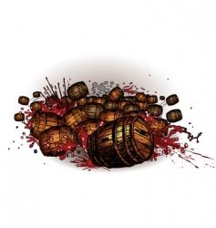 rolling barrels vector image