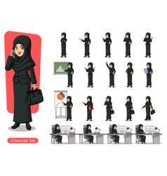 Set of businesswoman with veil cartoon character vector