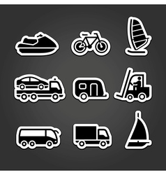 Set simple stickers transport vector image