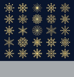 Shining gold snowflakes vector