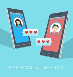 Smartphones with love sms boy and girl icons on vector