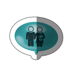 Sticker of oval speech with pictogram of couple vector