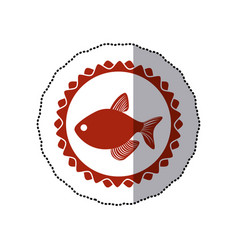 Sticker red circular border stamp with fish vector