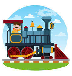 the old steam locomotive railway transport game vector image vector image