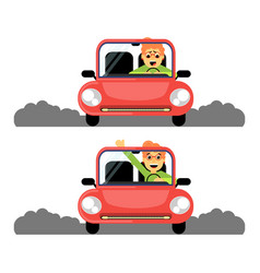 woman first time behind the wheel of the red car vector image vector image