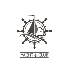 yacht helm and waves icon vector image vector image