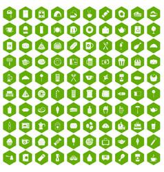100 cafe icons hexagon green vector