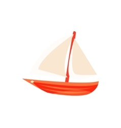 Sailing toy boat with white sails vector
