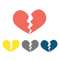 Heartbreak broken heart or divorce flat icon vector