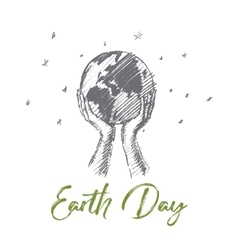 Hand drawn earth day concept with lettering vector