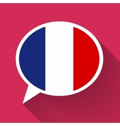 White speech bubble with france flag on pink vector