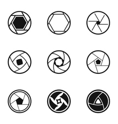 Types of aperture icons set simple style vector