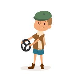 driver boy car rudder cute cartoon vector image
