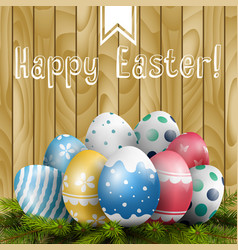 Easter colored eggs on pine tree vector