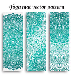 Set of yoga mat pattern light colors vector