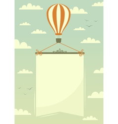 Hot air balloon with banner vector image