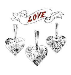 Sketch hearts with floral motif vector