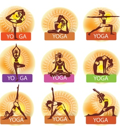Set of woman in meditating and doing yoga poses vector