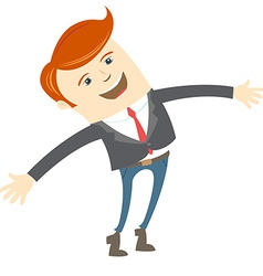 Happy office man in front of his working place vector